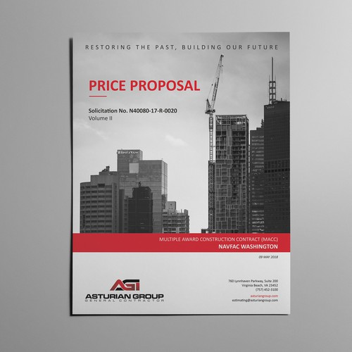 Red and gray design with the title 'Price Proposal - Word template'