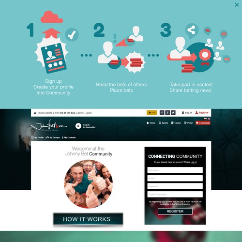 CSS3 website with the title 'WebDesign :: JohnnyBet / Community :: Poland'