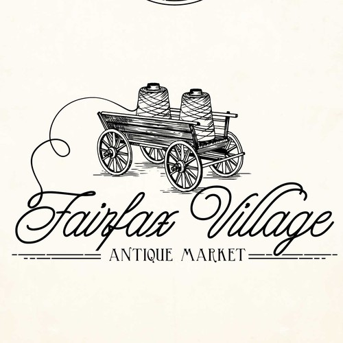 Engraving logo with the title 'Fairfax Village Antique Market'