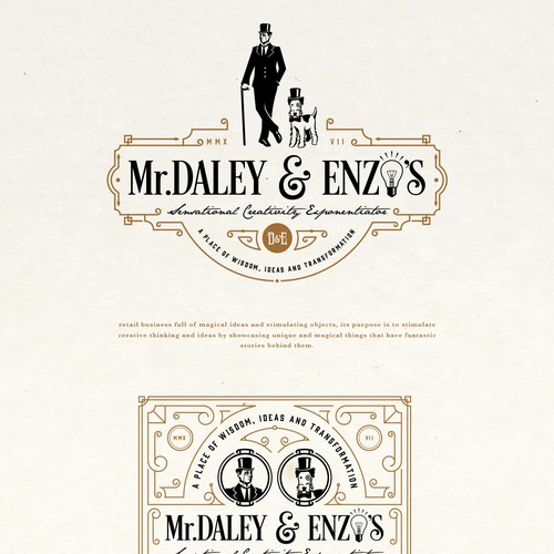 Steampunk design with the title 'Mr. DALEY & ENZO'S LOGO PROPOSAL'