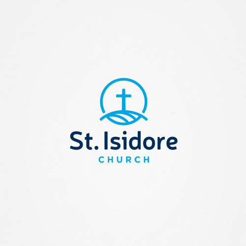 Heart and cross logo with the title 'Logo for St. Isidore Church'
