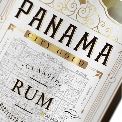 Distillery label with the title 'Panama City Gold'