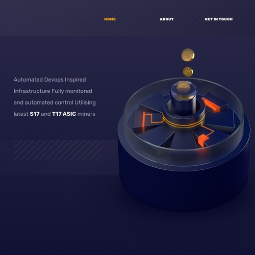 Crypto website with the title 'Bitcoin Mining Startup Website'