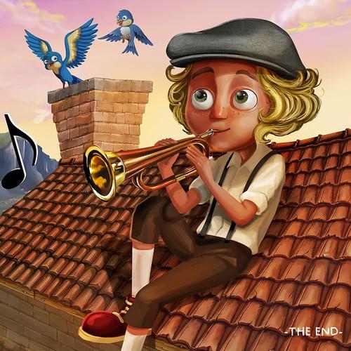 Children's book artwork with the title 'Children Book Illustration'