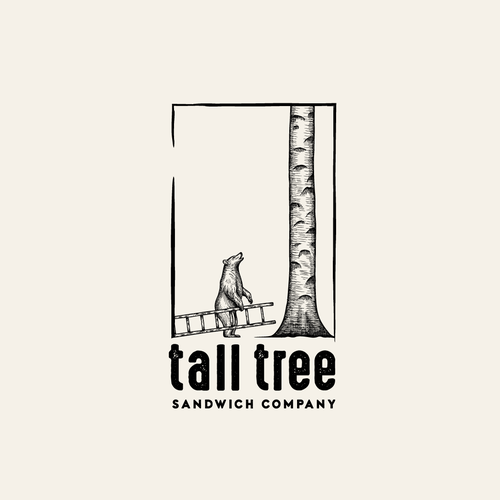 Bear logo with the title 'Tall Tree Sandwich Company logo design'