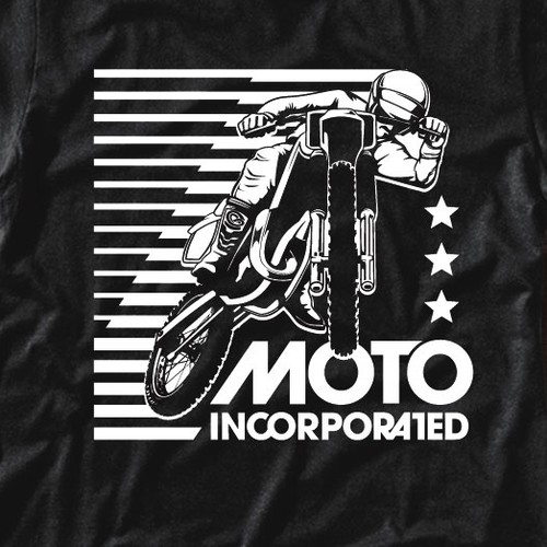 Surfing t-shirt with the title 'Vintage Style Moto Inc. T-Shirt Design'