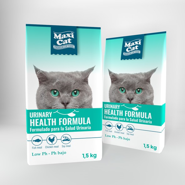 Stylish packaging with the title 'Modern, premium stand up pouch for cats'