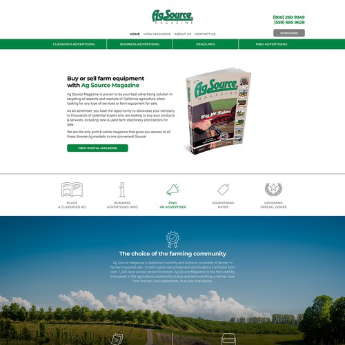 White-space website with the title 'Agricultural Website Update'