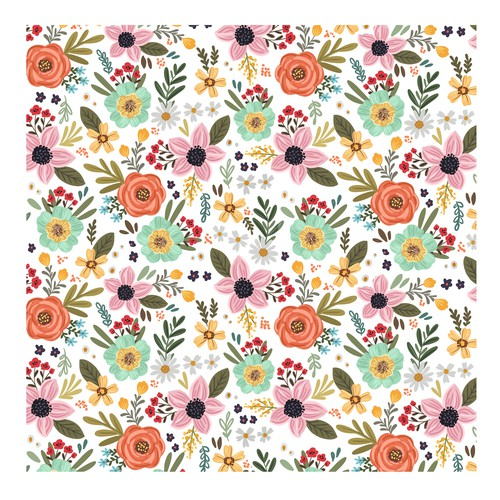 Flower artwork with the title 'Bohemian style floral pattern'