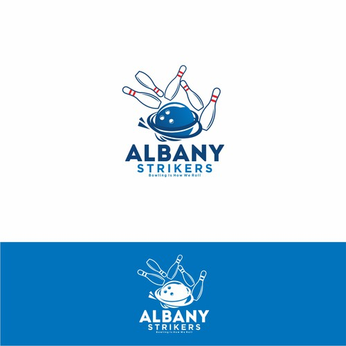 Bowling logo with the title 'Bowling Logo Albany Strikers'