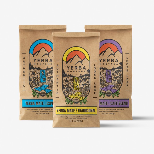 Tea packaging with the title 'Illustrative Packaging design forYerba Mate Tea '