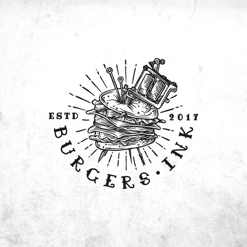 Burger logo with the title 'Approved vintage tattoo style logo for Burger.Ink'