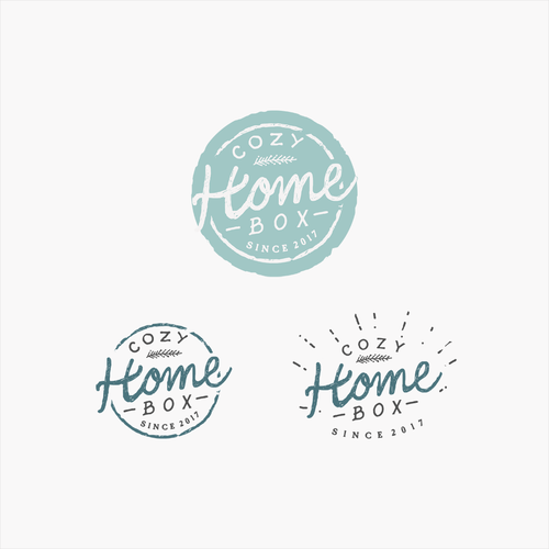 Subscription box design with the title 'Cozy Home Box'