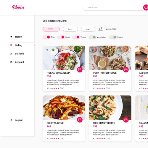 Interactive website with the title 'Restaurant Dashboard'