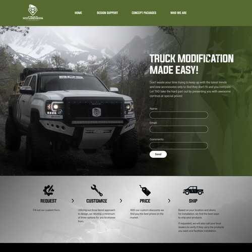 Automotive website with the title 'Website design for truck industry'