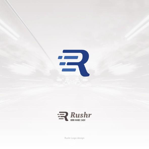 Speed logo with the title 'Rushr Logo Design'