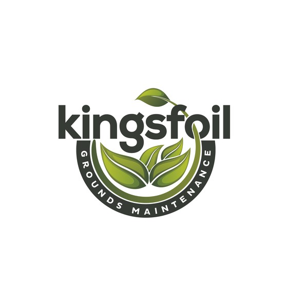 Green leaf logo with the title 'Logo design for Kingsfoil'