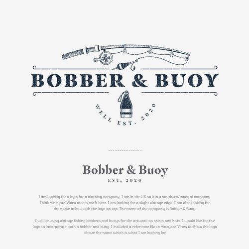 Fishing logo with the title 'Logo design for BOBBER & BUOY'