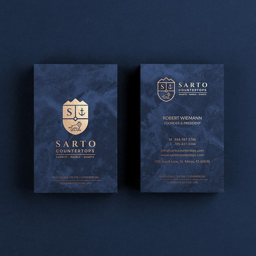 Coat of arms design with the title 'Sarto Countertops - Logo & Business Card Design'