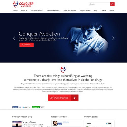 NGO design with the title 'Design a visually-compelling website for Conquer Addiction -- lots of feedback guaranteed!'