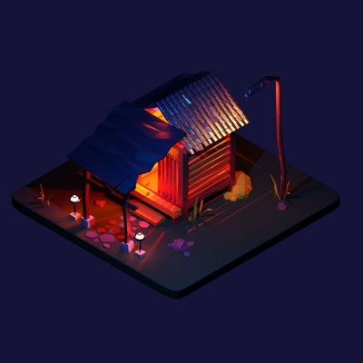 low poly dark mystery hut
