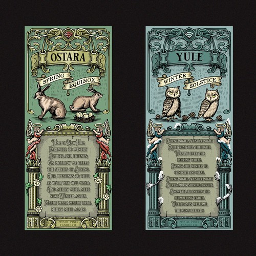Old-school design with the title 'Ostara and Yule Candle label'