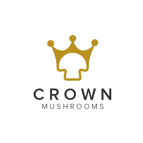 Gold beauty logo with the title 'Crown Mushrooms'
