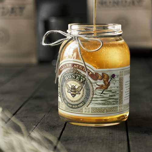 Honey design with the title 'Hand drawn honey label'