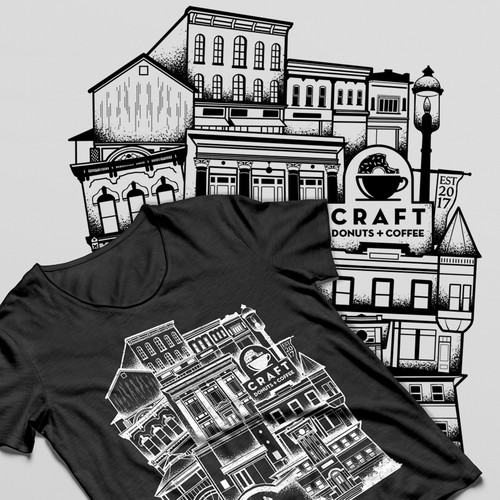 Line art t-shirt with the title 'In contest Create a cool vintage t-shirt design for Craft Donuts + Coffee'