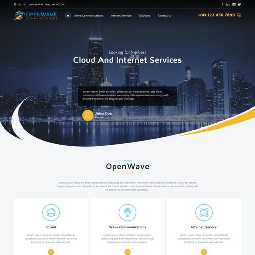 Internet website with the title 'We broker cloud and internet services to businesses'