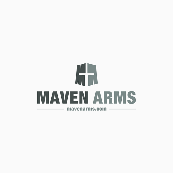 Arms logo with the title 'Maven Arms - Black Knight on Silver Shield (With Swords Optional)'