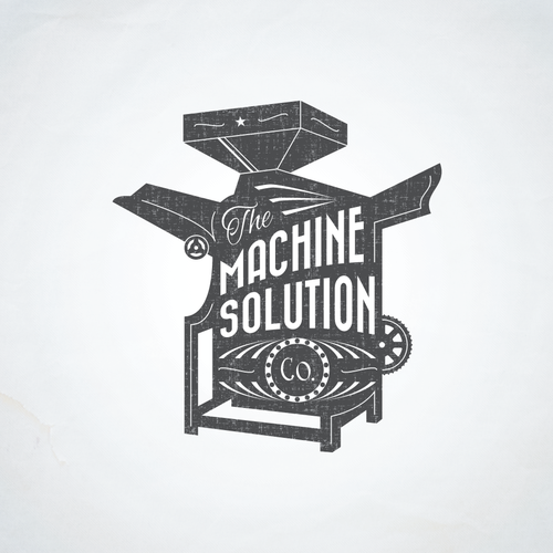 Machine logo with the title 'Vintage illustration capturing food industrial machine'