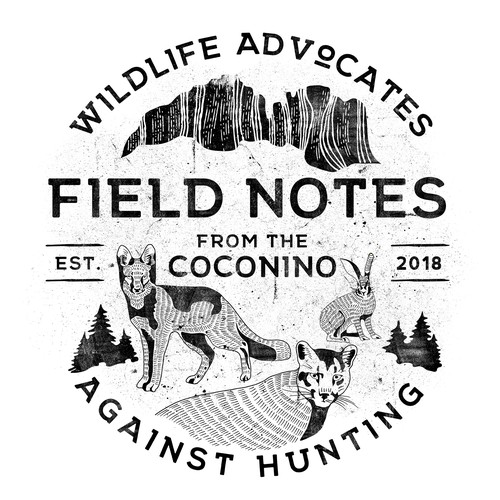 Animal t-shirt with the title 'FIELD NOTES from Coconino, Wildlife Advocates Against Hunting'
