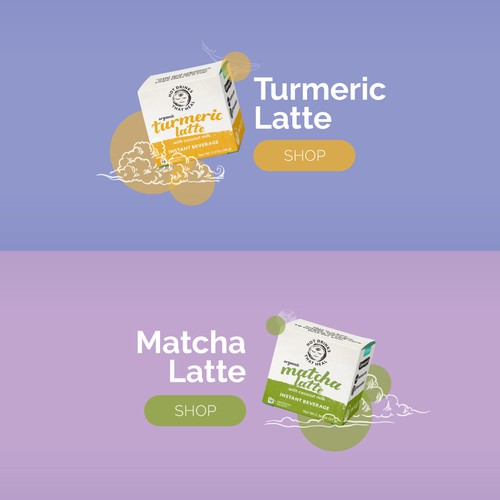 Space website with the title 'Website for tea products'