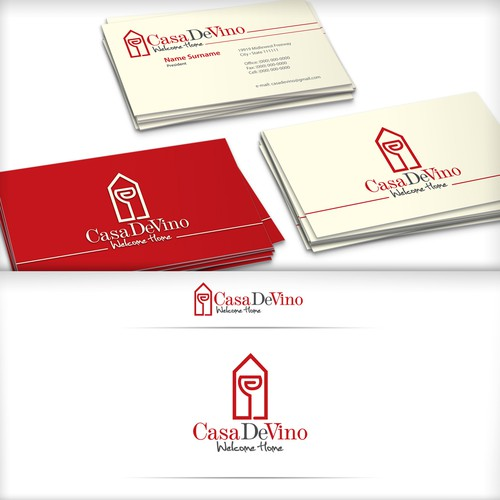 Glass logo with the title 'Logo for Casa De Vino '