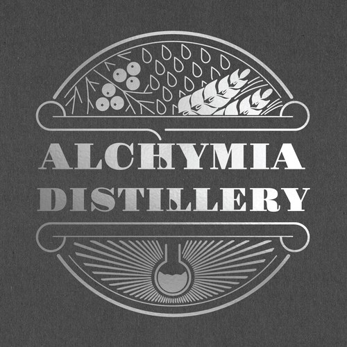Letterpress logo with the title 'Hand drawn rustic antique styled logo for distillery'