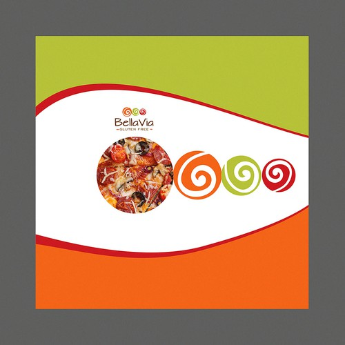 Pizza box packaging with the title 'Bright, Beautiful, Bold! Help Design Pizza, Tortilla, Pasta Packages!'