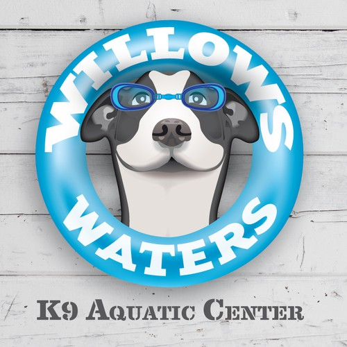 Dog training logo with the title 'Illustrative Logo/Sign for an Aquatic Center that provides physical therapy for dogs.'