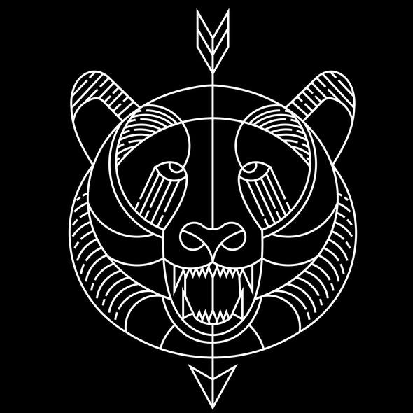 Sad design with the title 'Bear line art tattoo'