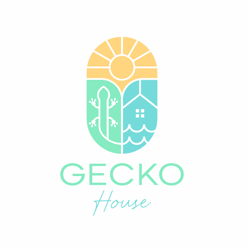 Lizard design with the title 'Gecko-themed Rental Beach House Logo'