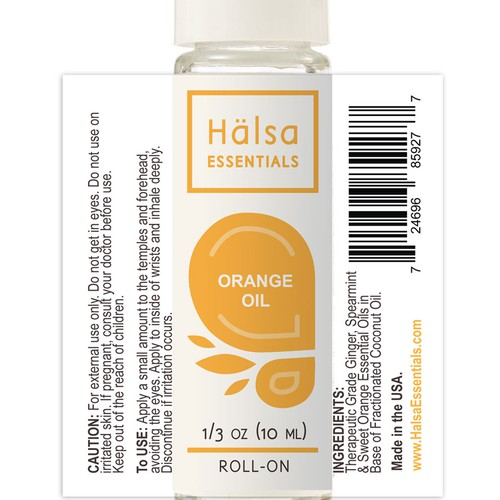 Essential oil label with the title 'Clean product label for health brand'