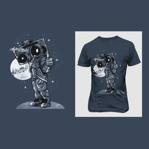 Astronaut t-shirt with the title 'Tshirt design for mr wade '