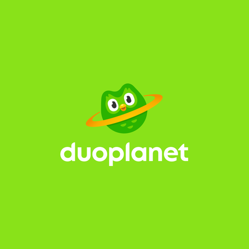 Planet logo with the title 'Logo for a website about Duolingo and language learning'