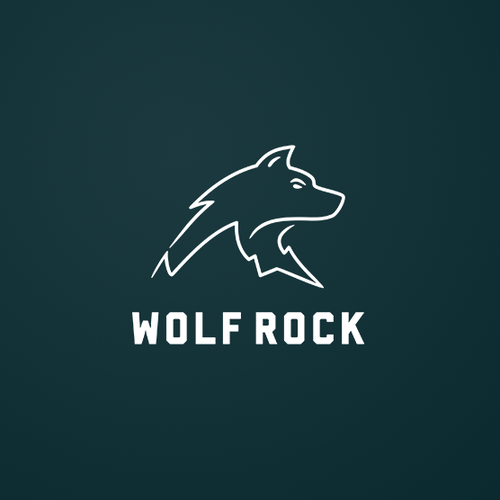 Rock design with the title 'This wolf rocks!'