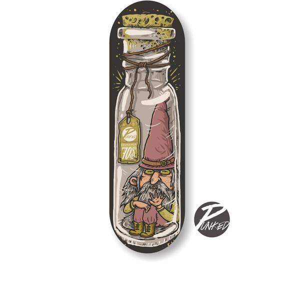 Skateboard illustration with the title 'Skate design'