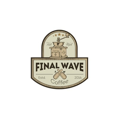 Roaster logo with the title 'final wave coffee logo'