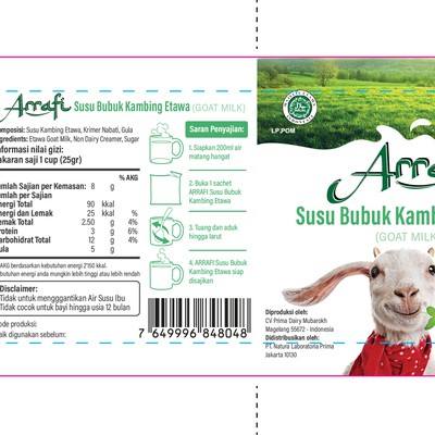 Clean and fun sachet for goat milk powder