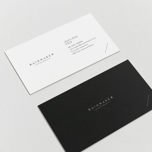 Stationery brand with the title 'Rainmaker logo'