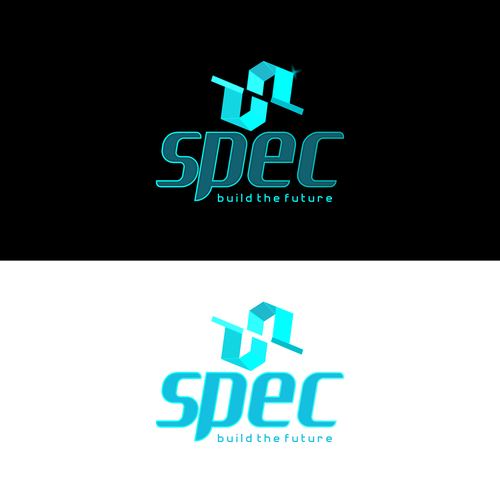 Cyan logo with the title 'Contest Finalist of Logo for SPEC - Build the Future'