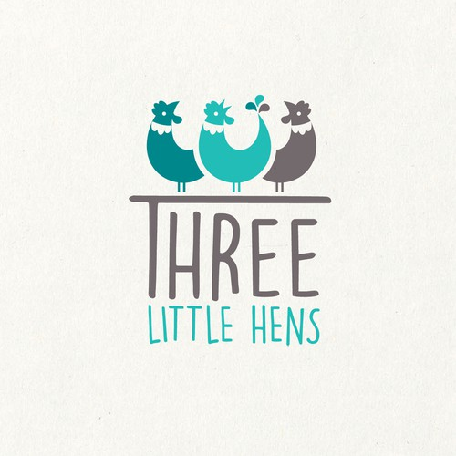 Toy logo with the title 'Three Little Hens'